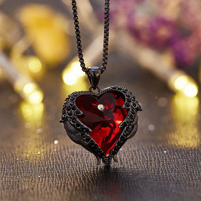 Angel Wing Sparkling Red Heart Crystal Pendant